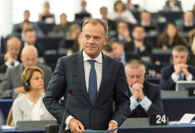 European Council President Donald Tusk delivers his speech during the plenary session about the humanitarian situation of refugees within the EU and in neighbouring countries in the European Parliament in Strasbourg, France, 06 October 2015. EPA/PATRICK SEEGER