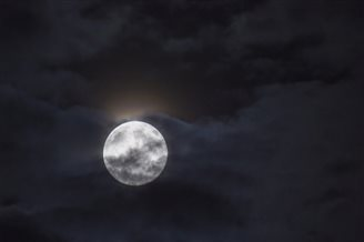Poles look up at sky for blue moon