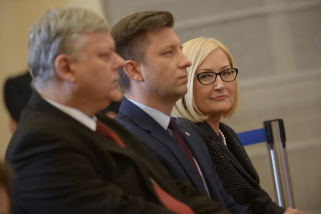 PM Morawiecki's new aides (from left): Marek Suski, Michał Dworczyk, and Joanna Kopcińska, during a news conference in Warsaw on Monday. Photo: PAP/Marcin Obara