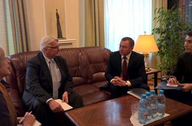 Polish Foreign Minister Witold Waszczykowski (L) with his Belarusian counterpart Vladimir Makei (R). Photo: MSZ