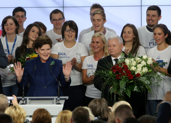 Law and Justice candidate for prime minister Beata Szydło (L) and party leader Jarosław Kaczyński celebrate after the exit poll is announced. Photo: Paweł Supernak