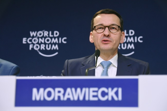 PM Mateusz Morawiecki in Davos on Thursday. Photo: PAP/Radek Pietruszka