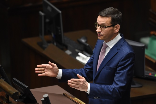 Poland's Deputy PM and Finance and Development Minister Mateusz Morawiecki speaks in the lower house of parliament on Tuesday. Photo: PAP/Radek Pietruszka