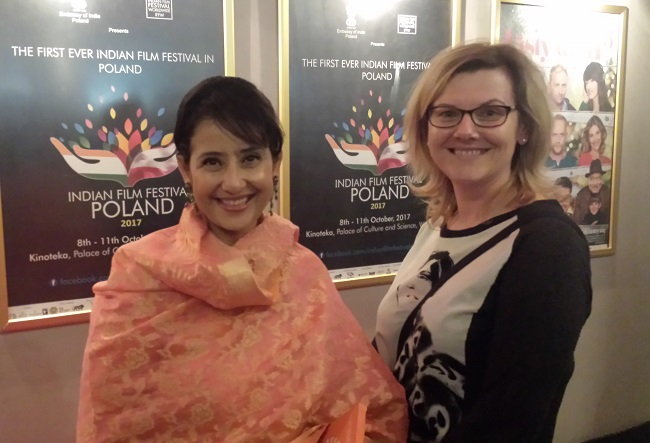 Danuta Isler (right) with actress Manisha Koirala at the launch of the first Indian Film Festival in Warsaw.