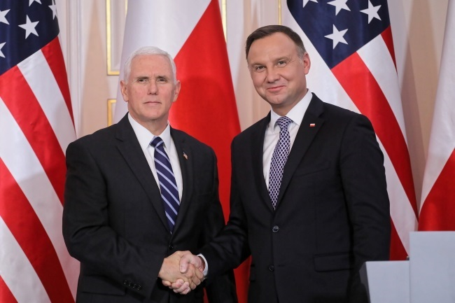 Michael Pence and Andrzej Duda in Warsaw. Photo: PAP/Paweł Supernak