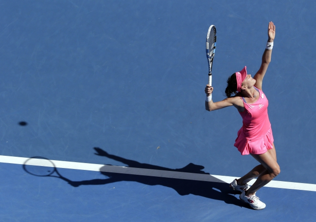 Agnieszka Radwanska of Poland in action against Christina McHale of the US during their first round match at the Australian Open tennis tournament in Melbourne, Australia, 18 January 2016. EPA/MAST IRHAM