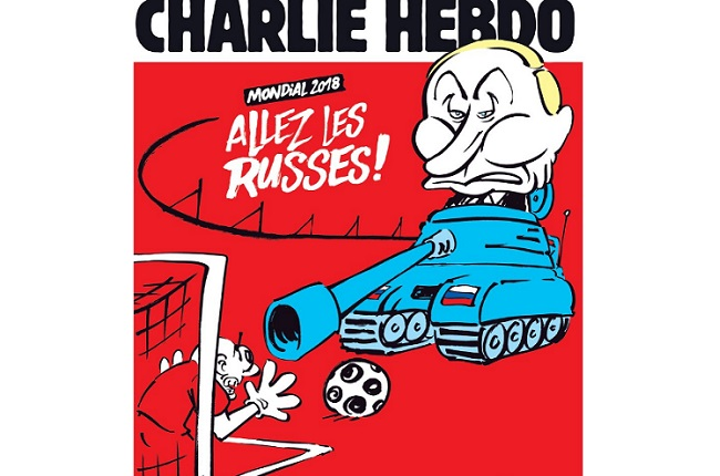 Карикатура Charlie Hebdo на Чемпионат мира по футболу в России.