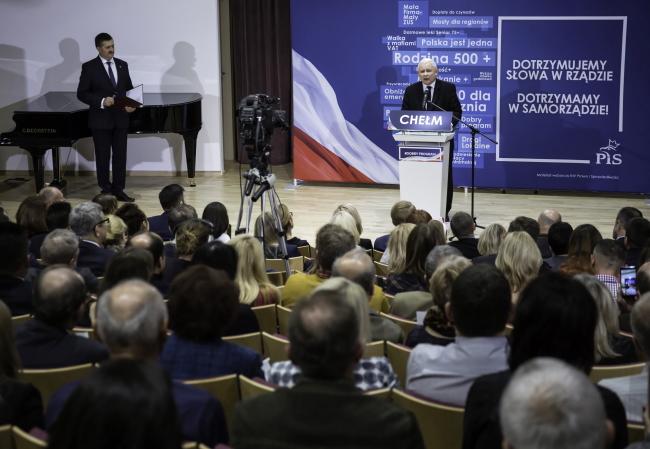 Хелм, 31 октября 2018 г. Встреча с избирателями лидера партии «Право и справедливость» Ярослава Качиньского