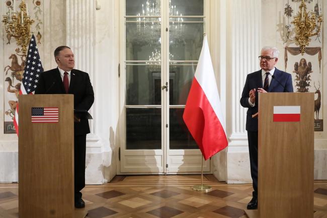 Державний секретар США Майл Помпео та міністр закордонних справ Польщі Яцек Чапутович під час спільної прес-конференції у Варшаві