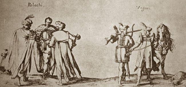 """Иоганн Вильгельм Баур, гравюра """"Венгры и поляки"""" (XVII в.) из коллекции Музея князей Чарторыйских в Кракове."""