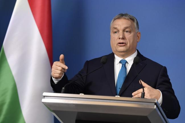 Премьер Виктор Орбан на пресс-конференции в Будапеште