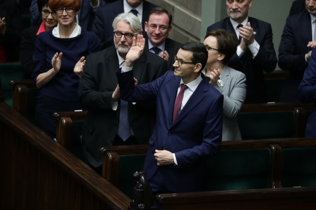 PM Mateusz Morawiecki (centre) after his policy speech in parliament on Tuesday. Photo: PAP/Tomasz Gzell