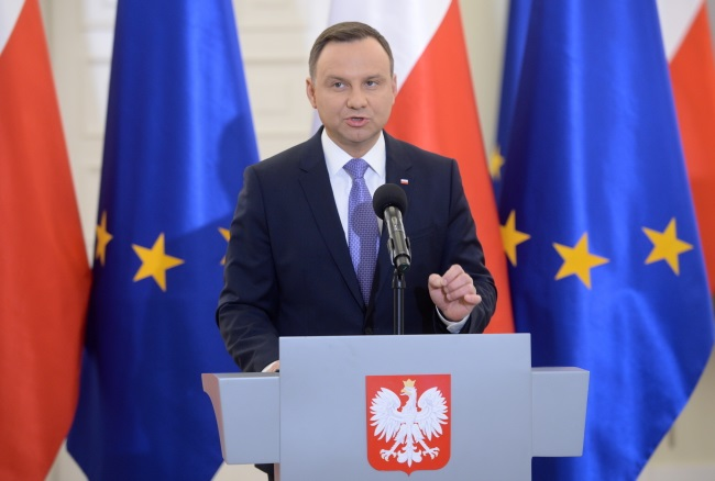 Polish President Andrzej Duda during a press conference. Photo: PAP/Jacek Turczyk.
