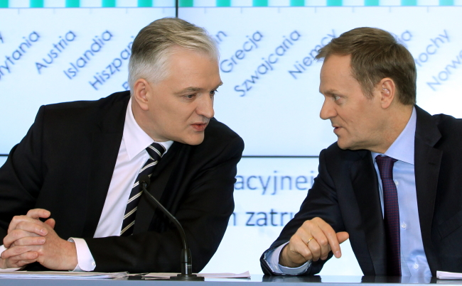 Ex-Justizminister Jarosław Gowin (l.) und Premierminister Donald Tusk