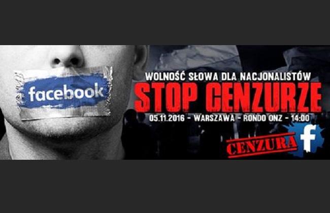 Twitter banner for 5 November protest outside Facebook's Warsaw HQ reads: Freedom of Speech for Nationalists - Stop Censorship. Photo: Twitter.com/Marsz Niepodległości @StowMarszN