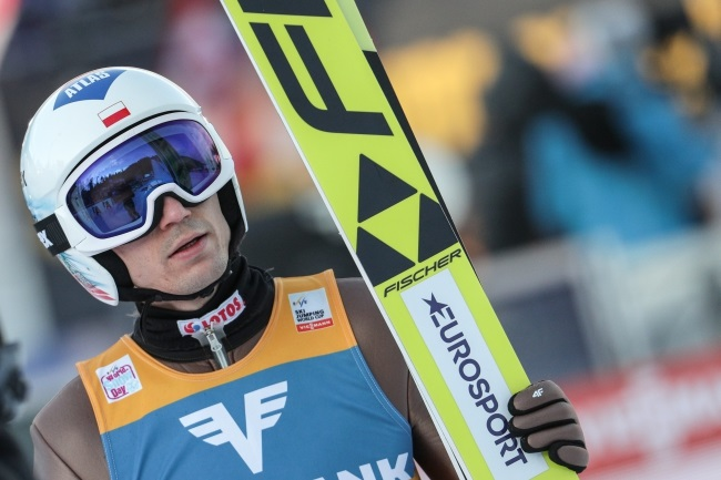 Poland's Kamil Stoch during the ski jumping World Cup competition in Bad Mitterndorf, Austria, on Saturday. Photo: EPA/LISI NIESNER