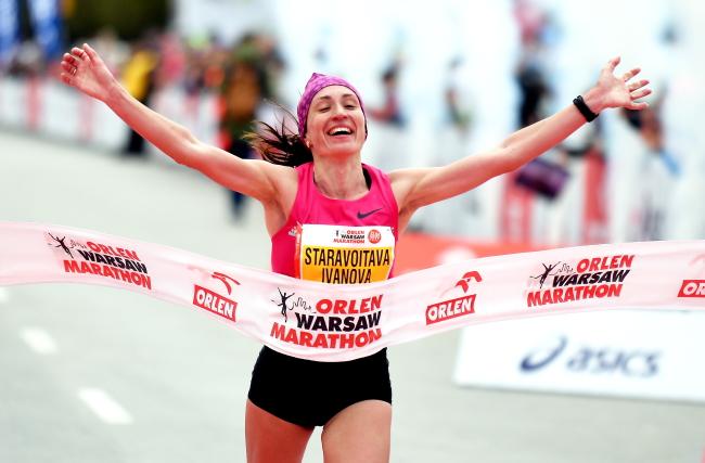 Анастасія Іванова на мэце  Orlen Warsaw Marathon