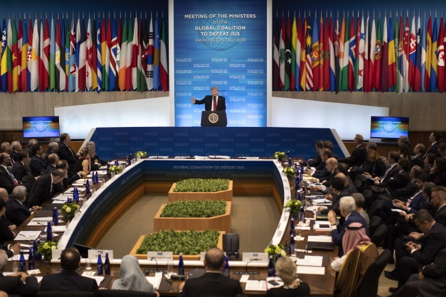US President Donald Trump speaks at the Meeting of Foreign Ministers of the Global Coalition to Defeat ISIS at the US Department of State in Washington on Wednesday. Photo: EPA/ERIK S. LESSER