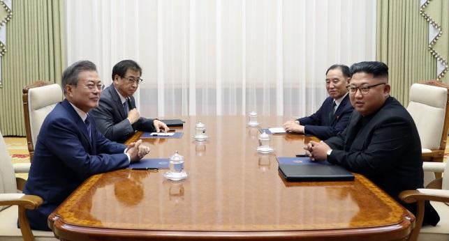 Президент Южной Кореи Мун Чжэ Ин ( слева) во время переговоров с лидером Северной Кореи Ким Чен Ыном (справа)