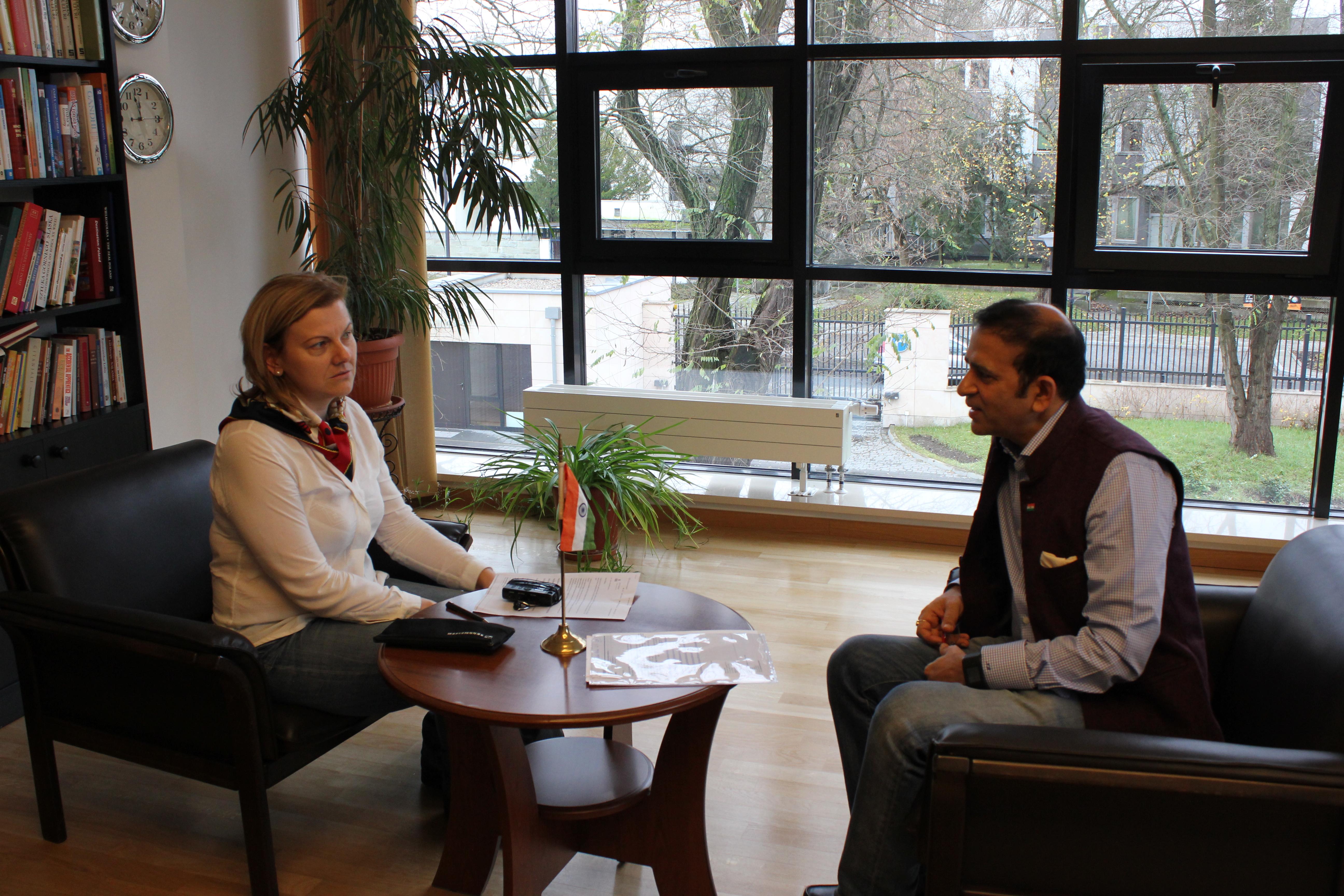Ambassador Ajay Bisaria and reporter Danuta Isler.