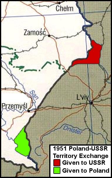 Ілюстрація до обміну територіями: червоним кольором позначена територія, що відійшла до УРСР, а зеленим територія передана ПНР.