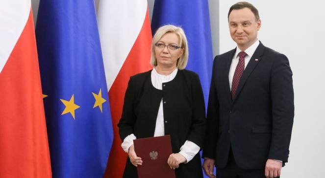 Новопризначена голова Конституційного суду Польщі Юлія Пшилембська та президент Анджей Дуда