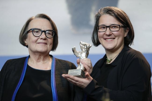 Agnieszka Holland and Kasia Adamik. Photo: EPA/IAN LANGSDON