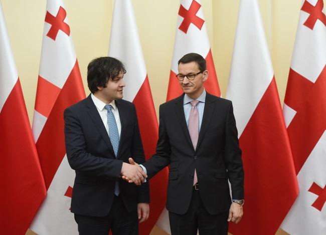 Irakli Kobakhidze, the Speaker of the Georgian Parliament, meets Polish PM Mateusz Morawiecki on Monday. Photo: PAP/Radek Pietruszka