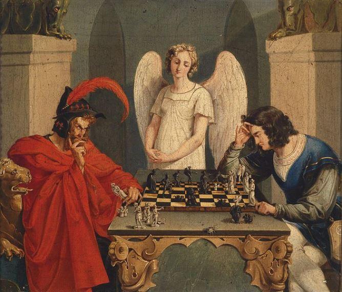 """Невідомий автор, """"Фауст і Мефістофель грають в шахи"""", XIX ст."""