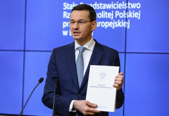 Polish PM Mateusz Morawiecki gives a news conference in Brussels on Thursday. Photo: PAP/Rafał Guz