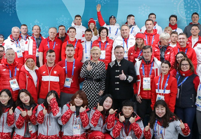 Agata Kornhauser Duda and Andrzej Duda at the Olympic Village in Pyeongchang. Photo: Jakub Szymczuk/KPRP.