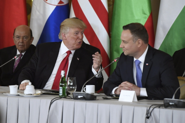 US President Donald Trump and Polish President Andrzej Duda during meetings in Warsaw. Photo: EPA/Szilard Koszticsak