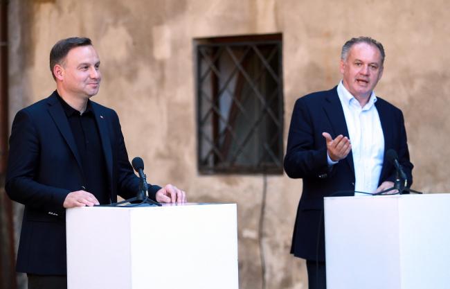Президенты Польши Анджей Дуда и Словакии Андрей Киска.