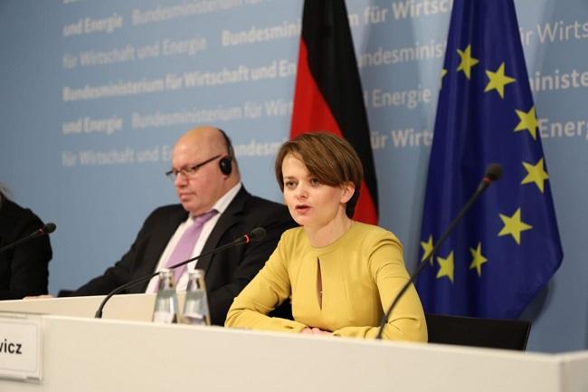 Poland's Jadwiga Emilewicz speaks at the Polish-German Economic Forum in Berlin on Monday.