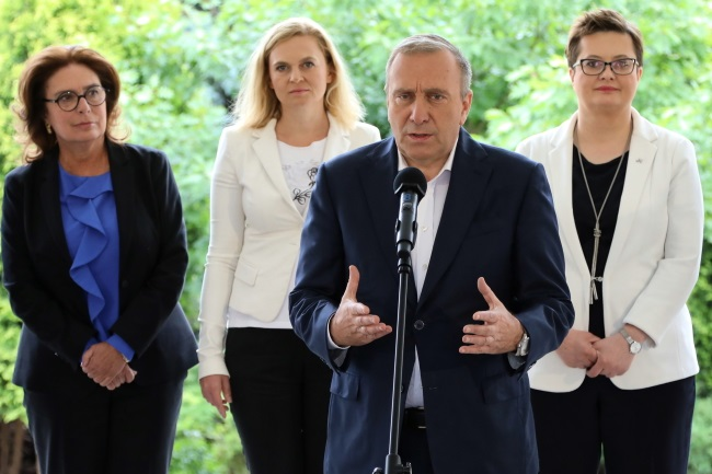 The Polish opposition's Grzegorz Schetyna speaks during a news conference in Warsaw on Friday.