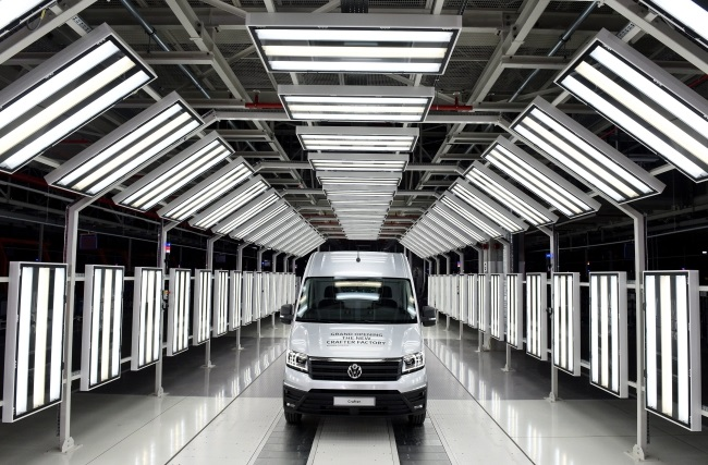 A Volkswagen Crafter van at the new factory in Poland. Photo: EPA/RAINER JENSEN