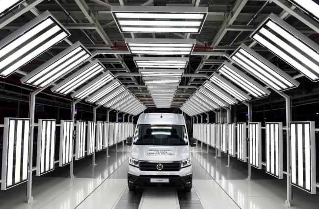 A Volkswagen Crafter van at the new factory in Poland. Photo: EPA/RAINER JENSEN