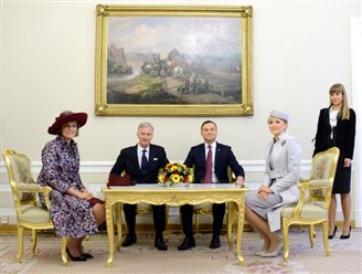 Belgian royal family on visit to Poland