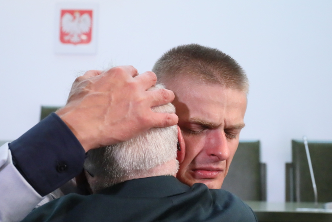 Tomasz Komenda after being acquitted. Photo: PAP/Paweł Supernak