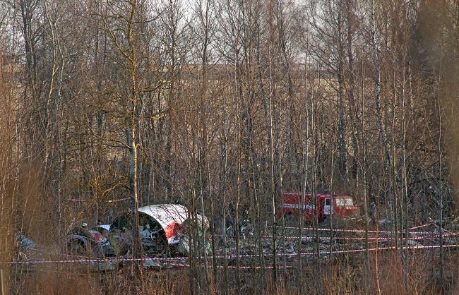 Место катастрофы самолета Ту-154М 10 апреля 2010 года.