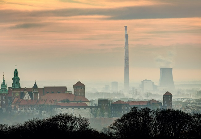 The southern city of Kraków and a nearby powerplant.