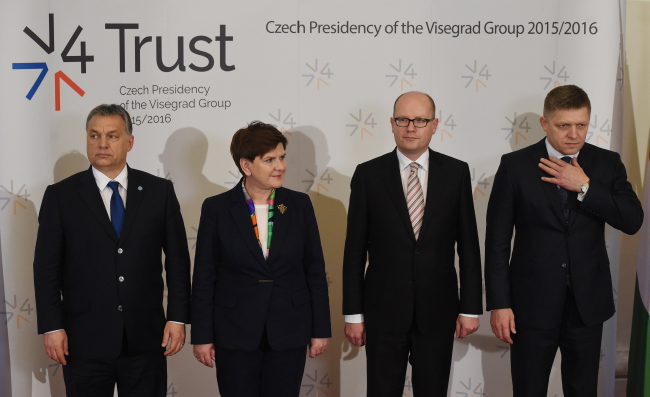 From left: Prime Minister of Hungary Viktor Orban, Prime Minister of Poland Beata Szydło, Prime Minister of the Czech Repubic Bohuslav Sobotka and Prime Minister of Slovakia Robert Fico. Photo: PAP/Radek Pietruszka