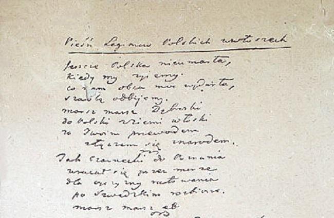 The original manuscript of Dąbrowski's Mazurka. Photo: Wikimedia Commons/anthem.pl