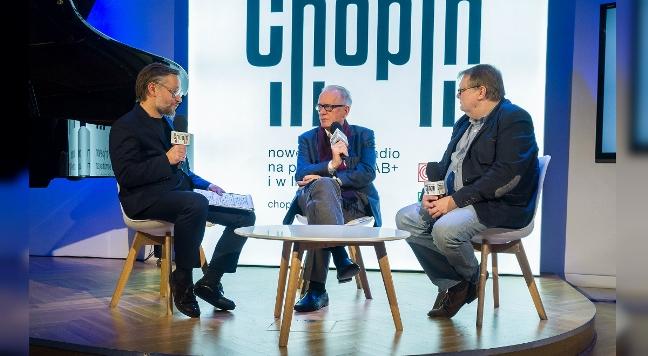 Konferencja inaugurująca Polskie Radio Chopin, od lewej: Jerzy Hawryluk, Krzysztof Czabański i Jacek Sobala