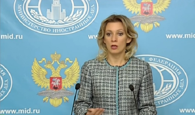 Maria Zakharova during the press conference on Friday. Photo: screenshot/Youtube.com