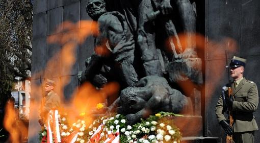 Uroczystości pod Pomnikiem Bohaterów Getta w Warszawie
