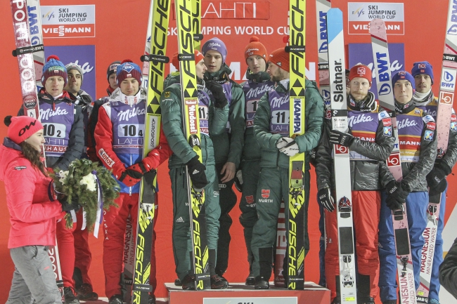 Ski jumpers take to the podium at Lahti. Photo: EPA/PEKKA SIPOLA