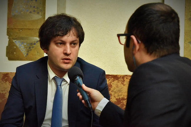 Irakli Kobakhidze speaking to Radio Poland. Photo: Georgian embassy in Poland