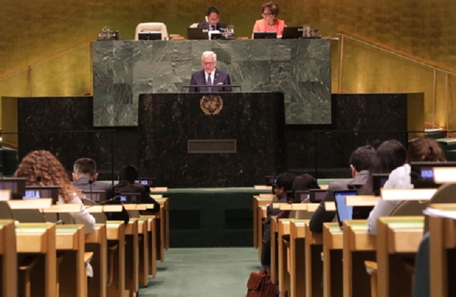 Polish Foreign Minister Jacek Czaputowicz addresses the UN General Assembly in New York on Tuesday.