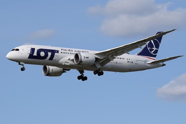 A Boeing 787-8 plane in LOT Polish Airlines livery. Photo: Wikimedia Commons/Adrian Pingstone/Public Domain